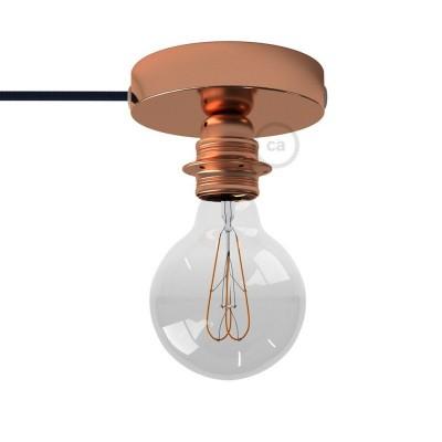 Spostaluce, měděný kovový zdroj světla s E27 objímkou se závitem, textilním kabelem a bočními otvory
