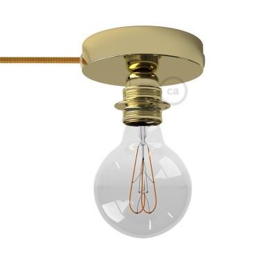 Spostaluce, mosazný kovový zdroj světla s E27 objímkou se závitem, textilním kabelem a bočními otvory