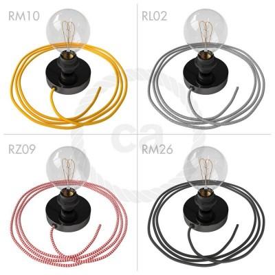 Spostaluce, černý perleťový zdroj světla s E27 objímkou se závitem, textilním kabelem a bočními otvory