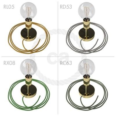 Spostaluce Metallo 90°, mosazný nastavitelný zdroj světla s textilním kabelem a bočními otvory