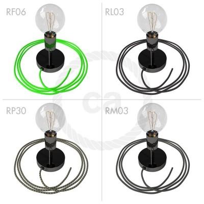 Spostaluce Metallo 90°, černý perleťový nastavitelný zdroj světla s textilním kabelem a bočními otvory