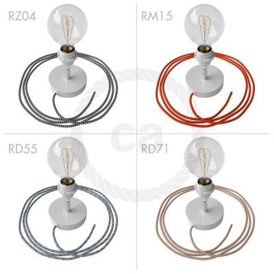 Spostaluce Metallo 90°, bílý nastavitelný zdroj světla s E27 objímkou se závitem, textilním kabelem a bočními otvory