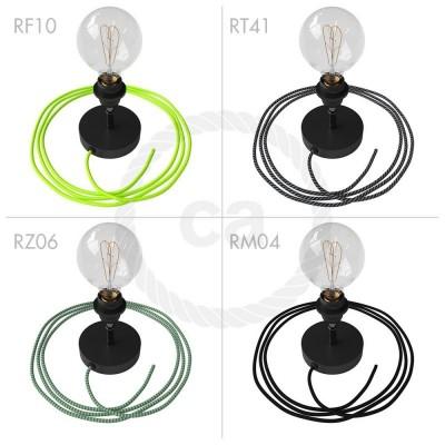 Spostaluce Metallo 90°, černý nastavitelný zdroj světla s E27 objímkou se závitem, textilním kabelem a bočními otvory
