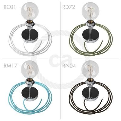 Spostaluce Metallo 90°, chromovaný nastavitelný zdroj světla s E27 objímkou se závitem, textilním kabelem a bočními otvory