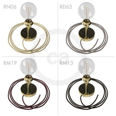 Spostaluce Metallo 90°, mosazný nastavitelný zdroj světla s E27 objímkou se závitem, textilním kabelem a bočními otvory