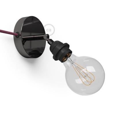 Spostaluce Metallo 90°, černý perleťový nastavitelný zdroj světla s E27 objímkou se závitem, textilním kabelem a bočními otvory