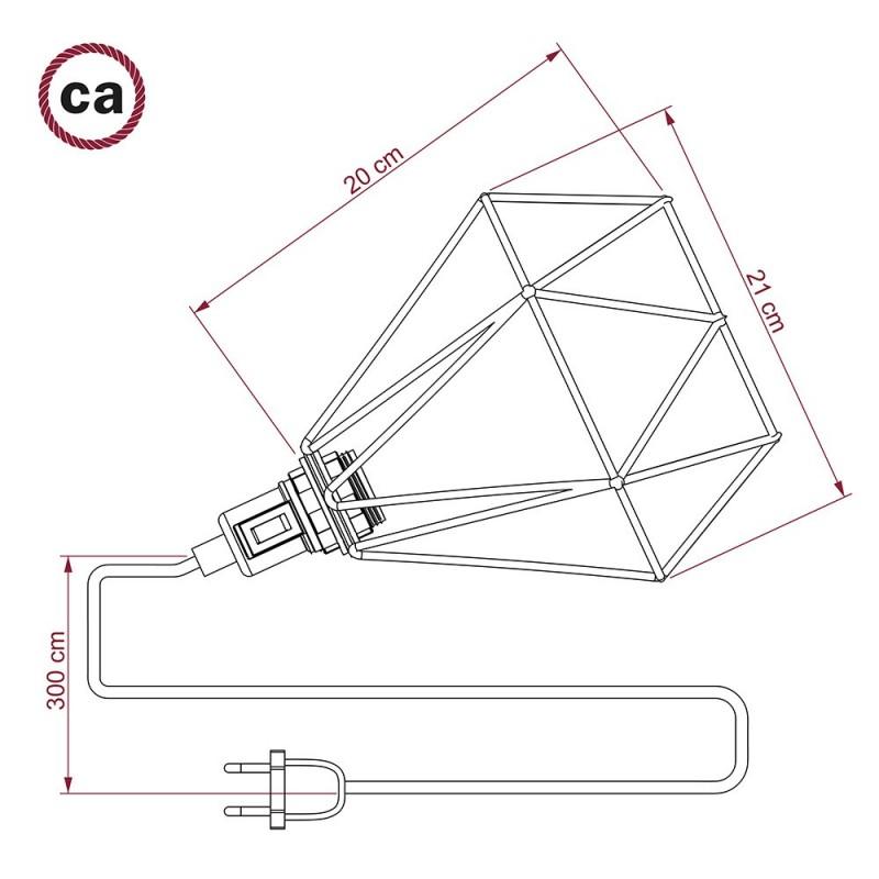 Table Snake, s černým kovovým stínidlem jako klec E27 ve tvaru diamantu metal ve tvaru diamantu s dvoupólovou zástrčkou