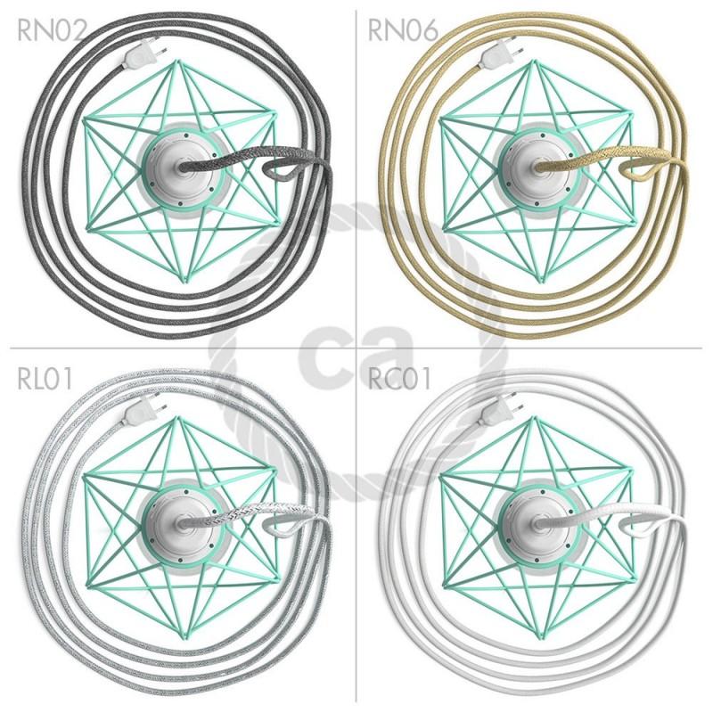 Table Snake, s tyrkysovým kovovým stínidlem jako klec E27 ve tvaru diamantu metal ve tvaru diamantu s dvoupólovou zástrčkou