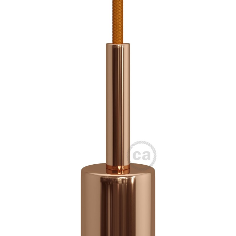Měděná válcová kovová kabelová průchodka 7 cm vysoká se závitovou tyčkou, maticí a podložkou