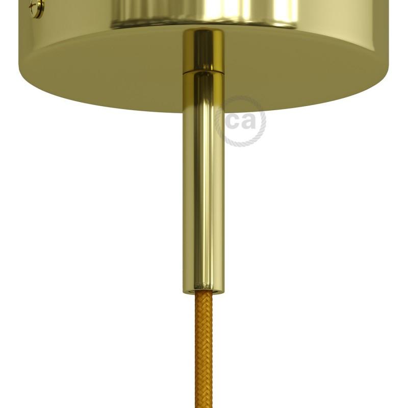 Mosazná válcová kovová kabelová průchodka 7 cm vysoká se závitovou tyčkou, maticí a podložkou