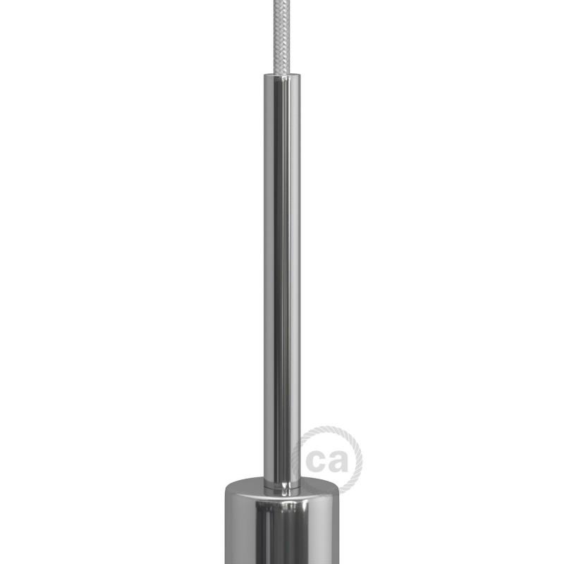 Chromovaná válcová kovová kabelová průchodka 15 cm vysoká se závitovou tyčkou, maticí a podložkou