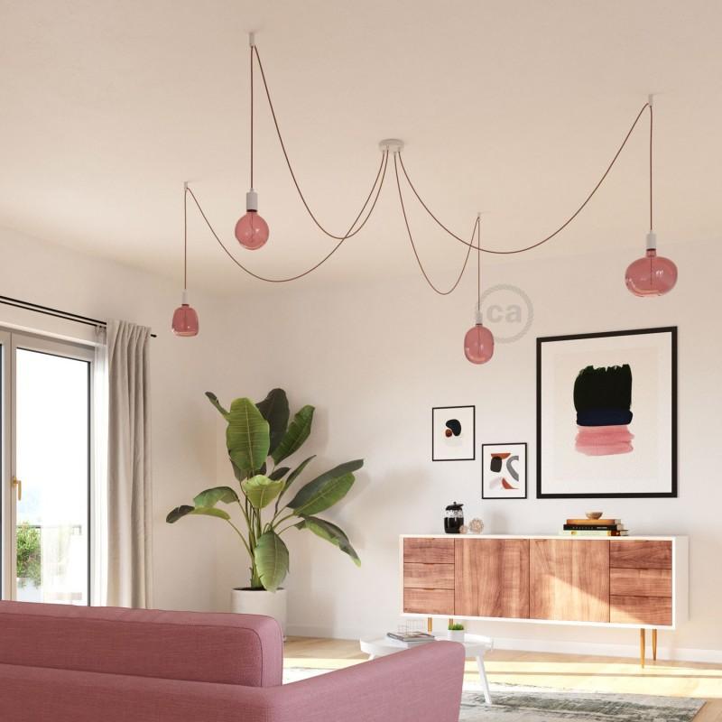 LED žárovka Cobble vínově červená (Berry Red), kolekce Pastel, spirálové vlákno 4W E27 Stmívatelná 2200K
