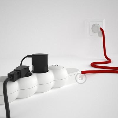 Prodlužovací textilný elektrický kabel - RM09 červený - se 4 zásuvkami a Schuko zástrčkou.