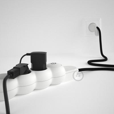 Prodlužovací textilný elektrický kabel - RM04 černý - se 4 zásuvkami a Schuko zástrčkou.