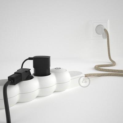 Prodlužovací textilný elektrický kabel - RN01 lněný přírodní - se 4 zásuvkami a Schuko zástrčkou.