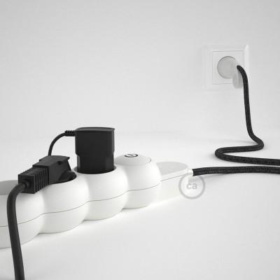 Prodlužovací textilný elektrický kabel - RN03 lněný antracitový - se 4 zásuvkami a Schuko zástrčkou.