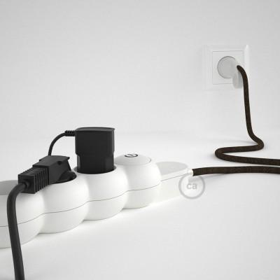 Prodlužovací textilný elektrický kabel -RN04 lněný hnědý - se 4 zásuvkami a Schuko zástrčkou.