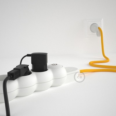 Prodlužovací textilný elektrický kabel - RM10 žlutý - se 4 zásuvkami a Schuko zástrčkou.