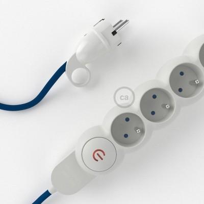 Prodlužovací textilný elektrický kabel - RM12 modrý - se 4 zásuvkami a Schuko zástrčkou.