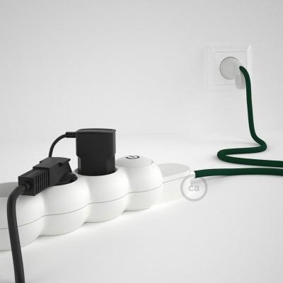 Prodlužovací textilný elektrický kabel - RM21 tmavě zelený - se 4 zásuvkami a Schuko zástrčkou.