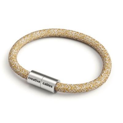 Náramek s matnou stříbrnou magnetickou sponou a třpytivým kabelem RS82 - přírodním lnem a bavlnou hnědé barvy