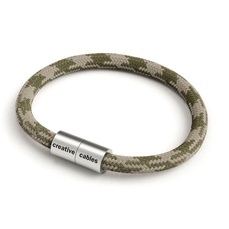 Náramek s matnou stříbrnou magnetickou sponou a kabelem RP30 - Tymiánový zelený a holubice