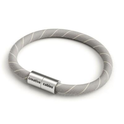 Náramek s matnou stříbrnou magnetickou sponou a kabelem ERD22 - vaječný likér