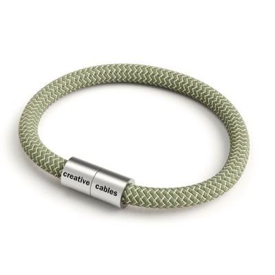 Náramek s matnou stříbrnou magnetickou sponou a cik-cak kabelem RD72 - tymiánovýlnem a Tymiánový zelený Cik Cak