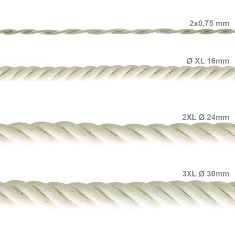 2XL Elektrický kabel 3x0,75 potažený bavlnou. Průměr 24 mm.