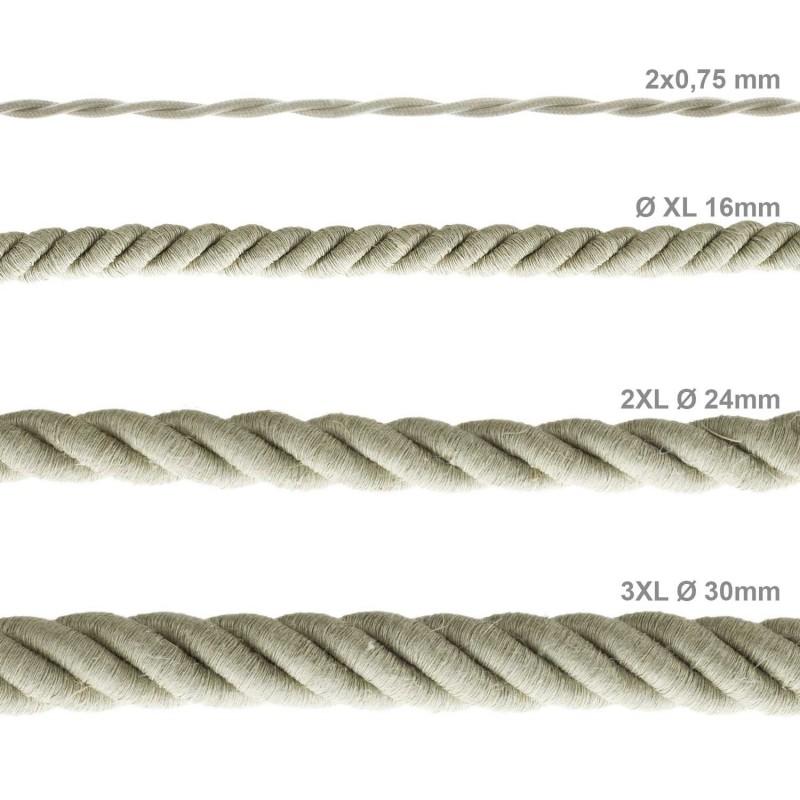 3XL Elektrický kabel 3x0,75 potažený lnem. Průměr 30 mm.