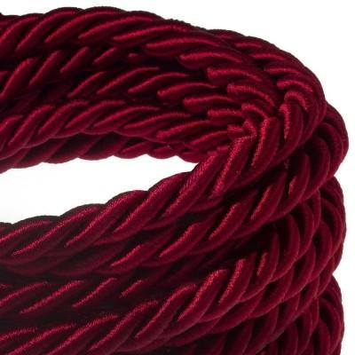 XL Elektrický kabel 3x0,75 potažený lesklou tmavě bordovou textilií. Průměr 16 mm.
