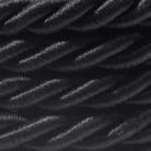 XL Elektrický kabel 3x0,75 potažený lesklou černou textilií. Průměr 16 mm.