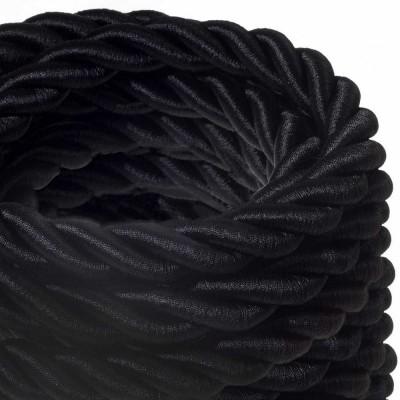 2XL Elektrický kabel 3x0,75 potažený lesklou černou textilií. Průměr 24 mm.