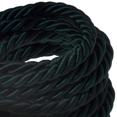 XL Elektrický kabel 3x0,75 potažený lesklou tmavě zelenou textilií. Průměr 16 mm.
