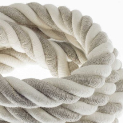 3XL Elektrický kabel 3x0,75 potažený lnem a bavlnou. Průměr 30 mm.