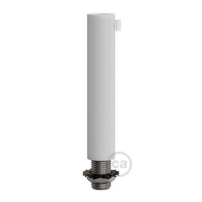 Bílá válcová kovová kabelová průchodka 7 cm vysoká se závitovou tyčkou, maticí a podložkou