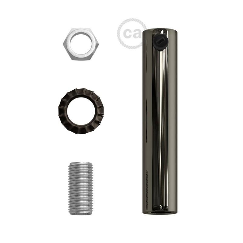 Černá perleťová válcová kovová kabelová průchodka 7 cm vysoká se závitovou tyčkou, maticí a podložkou