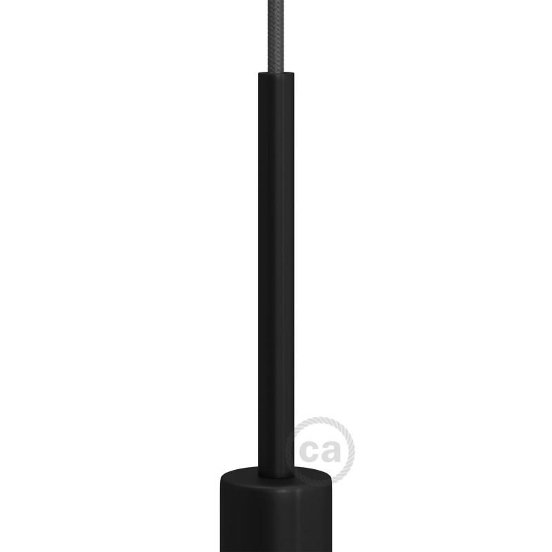 Černá válcová kovová kabelová průchodka 15 cm vysoká se závitovou tyčkou, maticí a podložkou