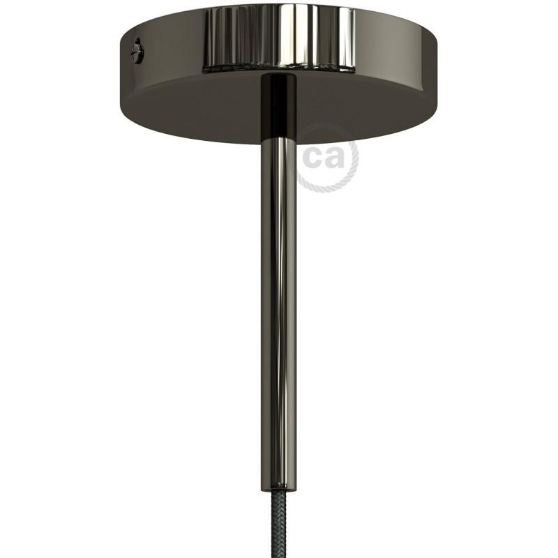 Černá perleťová válcová kovová kabelová průchodka 15 cm vysoká se závitovou tyčkou, maticí a podložkou
