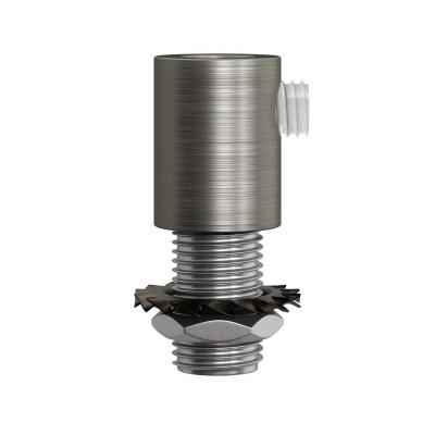 Matná chromovaná válcová kovová kabelová průchodka se závitovou tyčkou, maticí a podložkou.