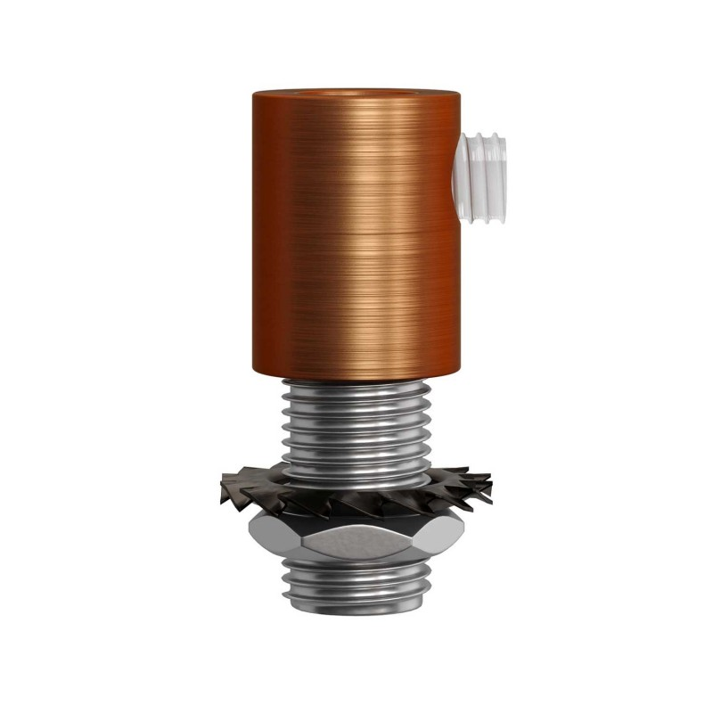 Matná měděná válcová kovová kabelová průchodka se závitovou tyčkou, maticí a podložkou.