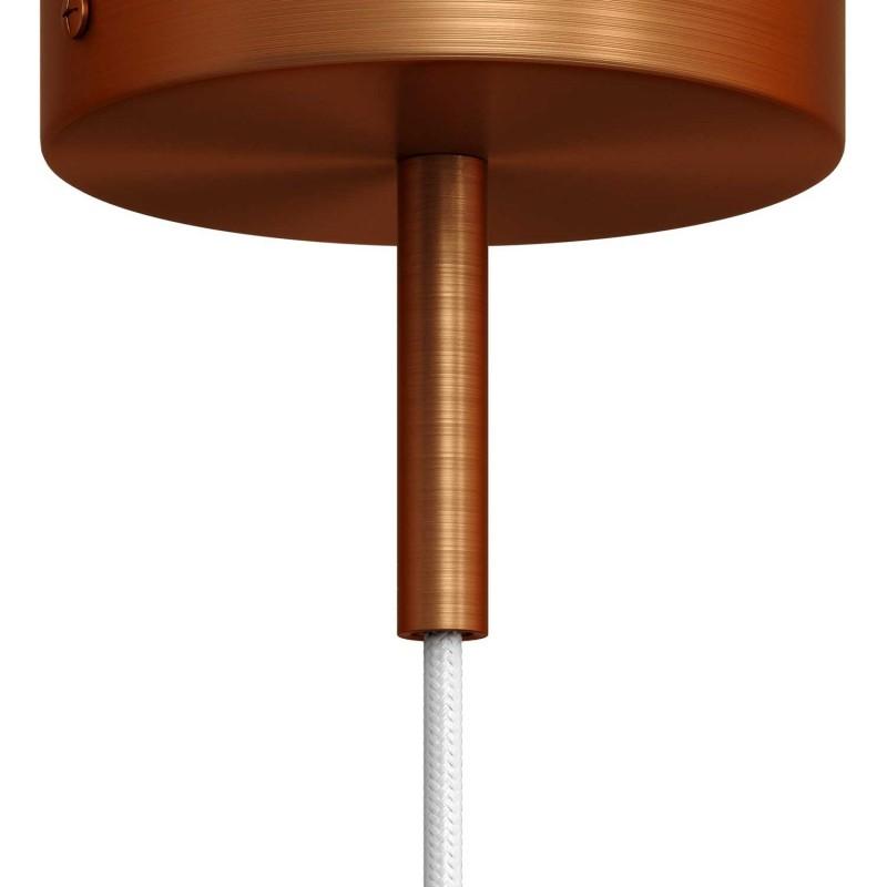 Matná měděná válcová kovová kabelová průchodka 7cm vysoká se závitovou tyčkou, maticí a podložkou.