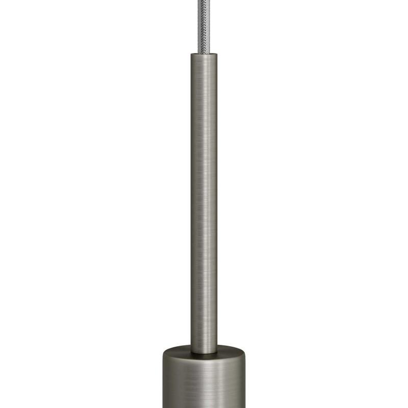 Matná chromovaná válcová kovová kabelová průchodka 15cm vysoká se závitovou tyčkou, maticí a podložkou.