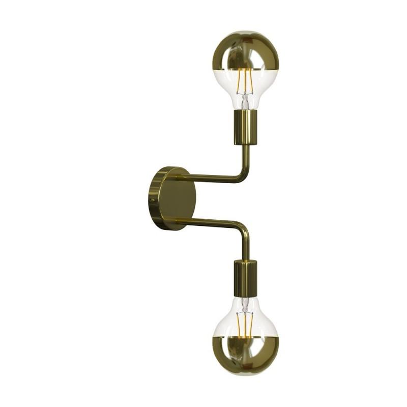Fermaluce Glam Metal kovové nástěnné svítidlo se dvěmi ohnutými prodlužovacími trubičkami