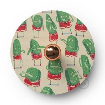 Fermaluce Funny Pop s oboustranným dřevěným stínidlem UFO s ilustracemi od různých umělců