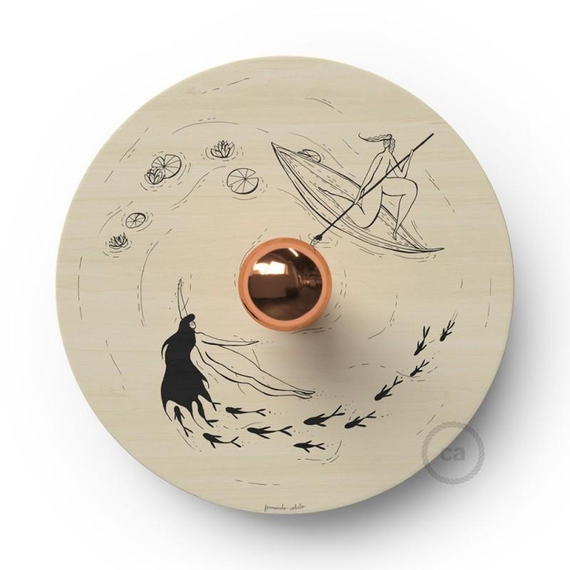 Fermaluce Romantic s oboustranným dřevěným stínidlem UFO s ilustracemi od různých umělců