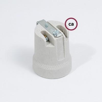 Porcelánová objímka E27 se spodní kotvící konzolou
