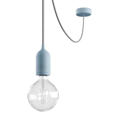 EIVA PASTEL Závěsná lampa IP65 do exteriéru s textilním kabelem, decentralizerem, silikonovým baldachýnem a objímkou, voděodolná