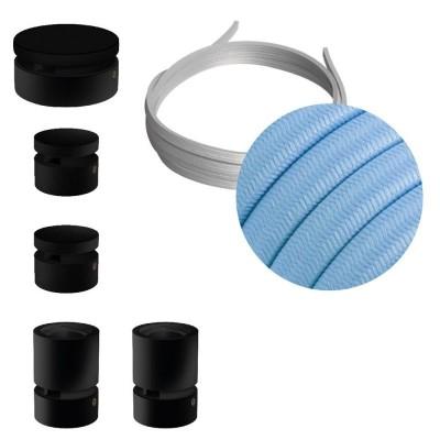 Filé systém - sestava pro cik-cak instalaci - 3m kabelu pro světelné řetězy a 5 černých lakovaných dřevěných komponentů