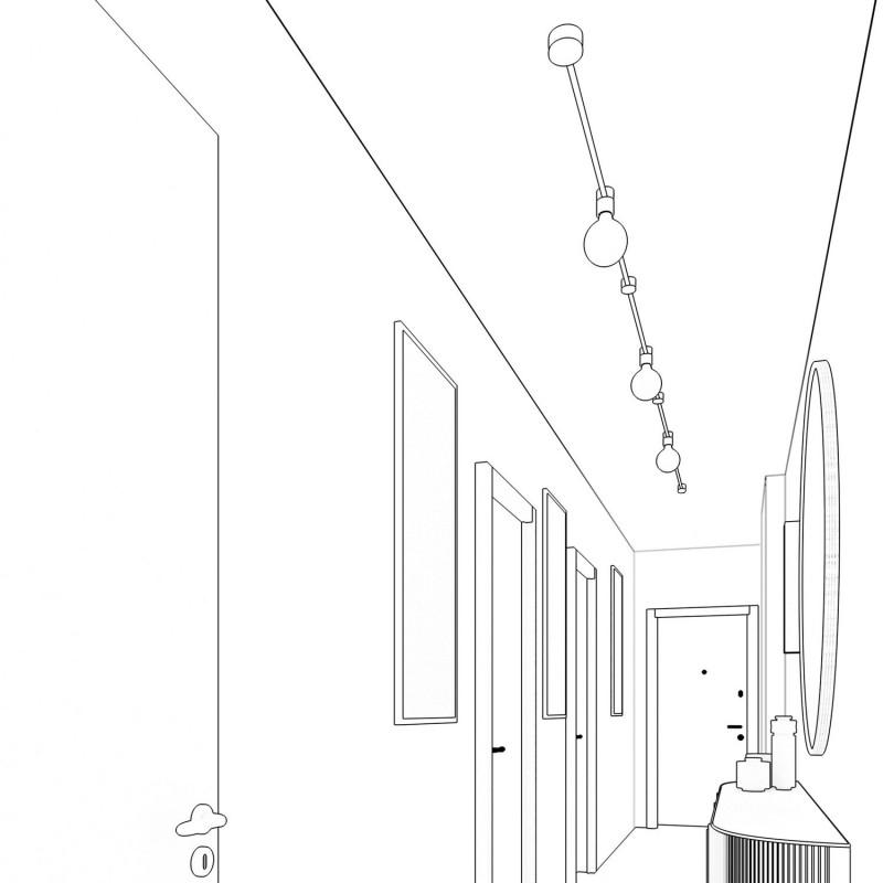 Filé systém - sestava pro přímou instalaci - 5m kabelu pro světelné řetězy a 7 bílých lakovaných dřevěných komponentů